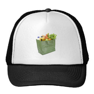 Reusable shopping bag full of groceries hats