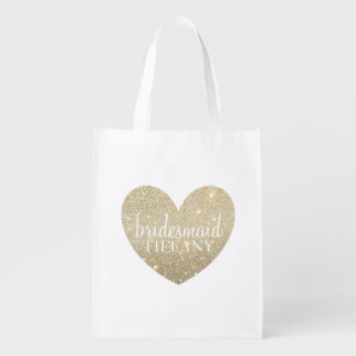 Reusable Tote - Glitter Heart Fab bridesmaid