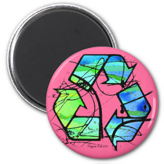Reuse, Reduce, Recycle Earth Day Gifts 6 Cm Round Magnet