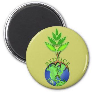 Reuse Reduce Recycle Tree Earth Globe 6 Cm Round Magnet