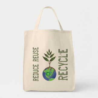 Reuse Reduce Recycle Tree Earth Globe Grocery Tote Bag