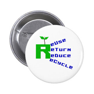 Reuse Return Reduce Recycle Pinback Buttons