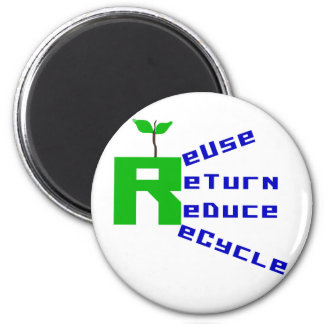 Reuse Return Reduce Recycle Refrigerator Magnets