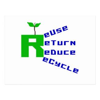 Reuse Return Reduce Recycle Postcard