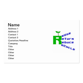 Reuse Return Reduce Recycle T shirts and Gifts Double-Sided Standard Business Cards (Pack Of 100)