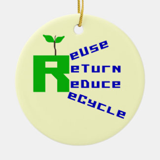 Reuse Return Reduce Recycle T shirts and Gifts Double-Sided Ceramic Round Christmas Ornament