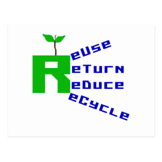 Reuse Return Reduce Recycle T-shirts and Gifts Postcard