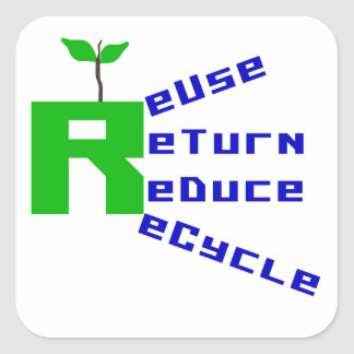 Reuse Return Reduce Recycle T shirts and Gifts Square Sticker