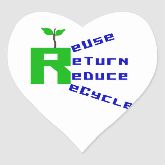 Reuse Return Reduce Recycle T shirts and Gifts Heart Stickers