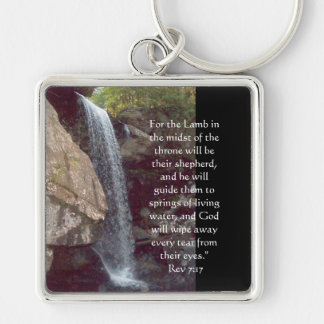 Rev 7:17  For the Lamb in the midst of the throne Silver-Colored Square Key Ring