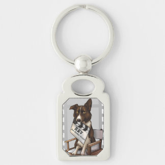 Rev the border collie Silver-Colored rectangle key ring