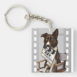 Rev the border collie Single-Sided square acrylic key ring