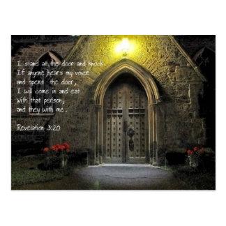 Revelation 3:20 Church Door Postcard