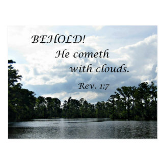 Revelations 1:7 Behold, He cometh with clouds Postcard