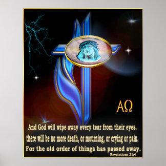 Revelations 21:4  Blue cross poster