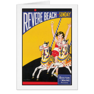 Revere Beach Sunday Boston Maine Railraod Greeting Card