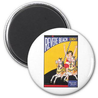 Revere Beach Sunday Boston Maine Railraod 6 Cm Round Magnet