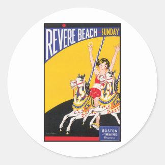 Revere Beach Sunday Boston Maine Railraod Round Sticker