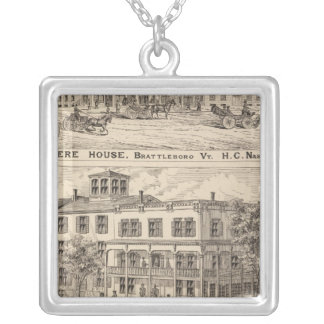 Revere House and Crosby Block in Brattleboro Silver Plated Necklace