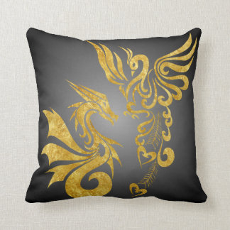 Reversable Feng Shui Phoenix & Dragon Pillow-black Cushion