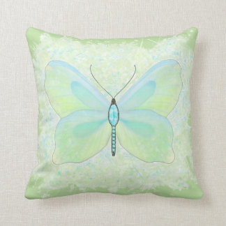 Reversable Lime and Aqua Jeweled butterfly pillow