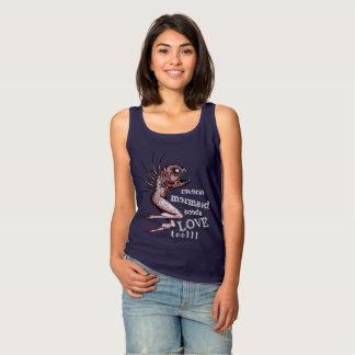 Reverse mermaid needs love dark ladies tank top