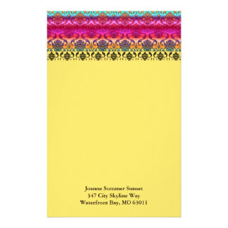 REVERSE RAINBOW FADE: Fuchsia, Red, Orange, Yellow Custom Stationery