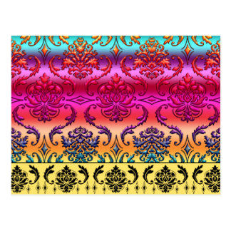 REVERSE RAINBOW FADE: Fuchsia, Red, Orange, Yellow Postcard