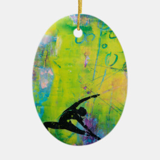 Reverse Warrior Yoga Girl Oval Ornament