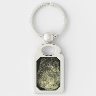 Reversed Loop Fingerprint Silver-Colored Rectangle Key Ring