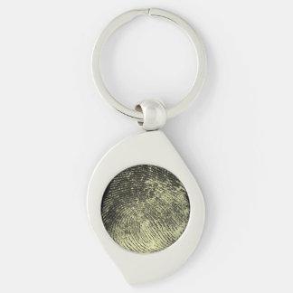 Reversed Loop Fingerprint Silver-Colored Swirl Key Ring