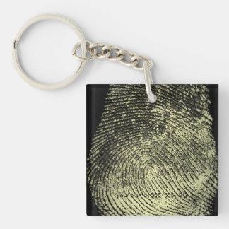 Reversed Loop Fingerprint Single-Sided Square Acrylic Key Ring