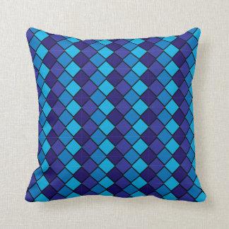 Reversibe Blue Aqua Pillow with diamond shapes