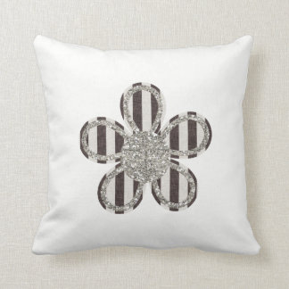 Reversible Black and White Flower Cushion