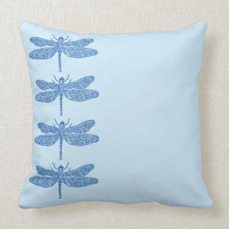 Reversible Blue Dragonfly Throw Pillow
