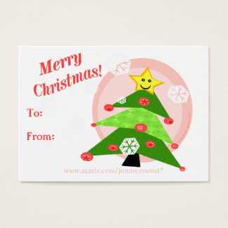 Reversible Christmas Cats / Girls Gift Tag Business Card