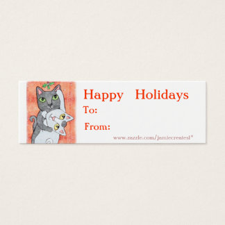 Reversible Christmas Cats / Girls Gift Tag Mini Business Card