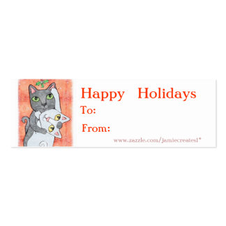 Reversible Christmas Cats / Girls Gift Tag Pack Of Skinny Business Cards