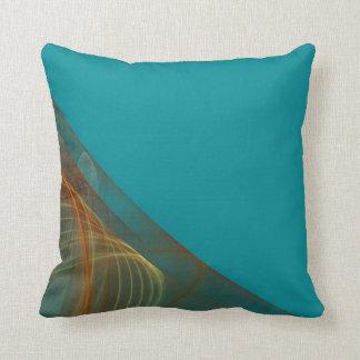 Reversible Colorful Aqua Blue Fractal Pillow