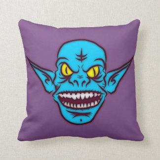 REVERSIBLE DESIGN blue zombie troll demon pillow