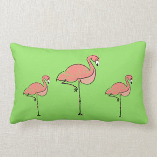 Reversible Flamingo and Chevron Lumbar Cushion