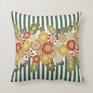 Reversible floral and stripe print pillow
