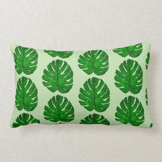 Reversible Green Monstera Leaf Throw Pillow