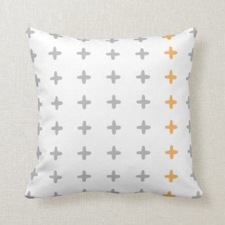 Reversible Grey + Orange Cross Cushion