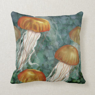Reversible Jelly Fish Pillow Teal and Orange
