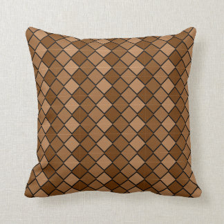 Reversible Multi Brown Pillow with diamond shapes
