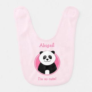 Reversible personalised cute panda pink bib