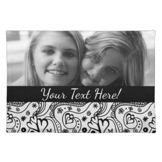 Reversible Personalized Photos Hearts Love Pattern Placemat