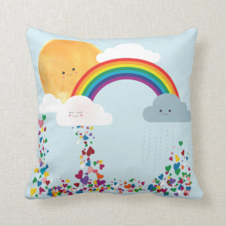 Reversible Pillow, Clouds Sun, Moon, Rainbow, Star Throw Pillow
