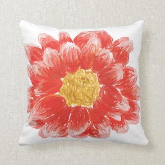 Reversible Pink Chrysanthemum Flower Throw Pillow